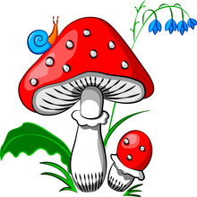 Amanita Snail In The Grass On A Gray Background Vector