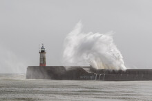 Waves Pound Newhaven Harbour Entrance.