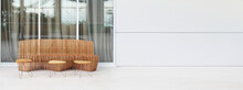 Wood Bench And Table In Light Interior. Horizontal Long Background.