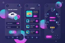 Online Casino Neumorphic Elements Kit For Mobile App. Playing Poker At Table, Winning Money Jackpot, Gambling Industry. UI, UX, GUI Screens Set. Vector Illustration Of Templates In Glassmorphic Design