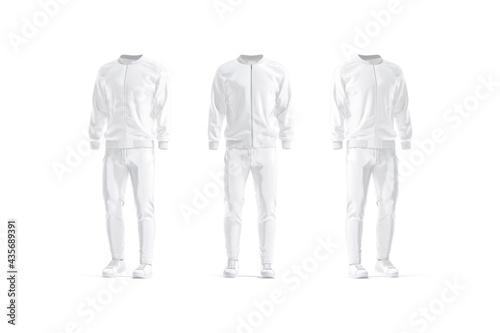 Wallpaper Mural Blank white sport tracksuit mockup, front and side view