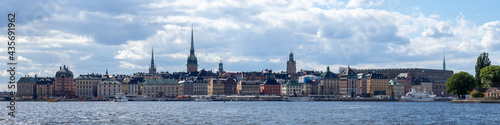 Stockholm skyline including royal palace from waterway. Fototapeta