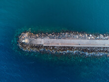 Top Down View Of Jetty In Chios Island's Port