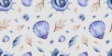 Watercolor Seamless Pattern Tender Seashells On The Beach