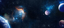 Planets, Stars And Galaxies In Outer Space. 3d Illustration