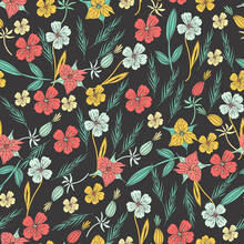 Floral Seamless Pattern. Hand Drawn Flowers And Leaves On Dark Background. Vector Illustration.