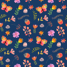 Watercolor Print With Butterfly, Bug, Branch, Stones, Flowers And Stars. Endless Texture On Dark Blue Background. Print For Textile, Wrapping, Cosmetics, Wall Paper, Scrapbook Paper