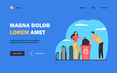 Couple of volunteers collecting garbage. People placing bag with trash into bin flat vector illustration. Waste reducing, volunteering, recycling concept for banner, website design or landing web page