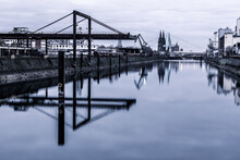 The Small Deutzer Hafen In Cologne With A View Of Cologne Cathedral, Germany.