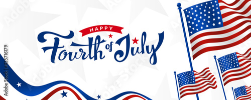 Tablou Canvas Happy 4th of July, USA independence day trendy custom hand-lettering, typography