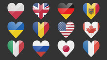 Set Of Flags Of Different Countries Made In Icon Design