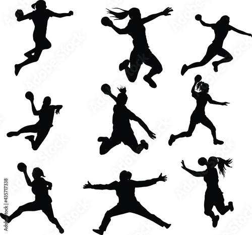 Valokuva silhouettes of handball girl