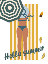 Hello Summer. Beach Holiday Attributes. Striped Umbrella And Towel, Flip Flops And Body Lotion. A Girl In A Bathing Suit Sunbathes In The Sun. Trending Colors Of 2021.