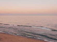 View Of Nauset Light Beach At Sunset, In Cape Cod, Massachusetts