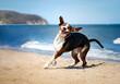 Śmieszna mina psa. Pies bawi się na plaży
