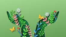 Green Hand Nature Plant Leaf Papercut Concept
