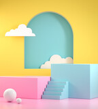 Fototapeta Perspektywa 3d - Minimal Summer Colorful Display Mockup, Step Double Podium For Show Product, 3d Render