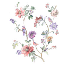 Birds, Butterflies, Paisley And Various Watercolor Flowers