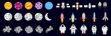 Set Of Elements On The Space Theme. Set Of Astronauts, Rockets, Moons, Satellites, Asteroids, Planets. Outer Space. Vector Illustration.