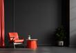 Leinwandbild Motiv Living room interior wall mockup in black tones with red leather armchair on dark wall background.