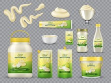 Mayonnaise Packaging Realistic Vector Mockups. Plastic Bottles, Jars And Stand-up Pouches, Bucket Or Pail, Tube With Olive Oil And Eggs On Label. Mayonnaise Stripes And Blobs, Glass And Porcelain Bowl