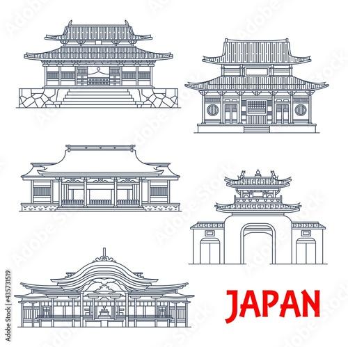 Fotografie, Obraz Japan travel, Japanese architecture temples, pagodas and gates, vector landmark buildings