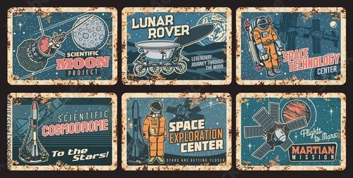 Canvastavla Space science technologies rusty metal plates