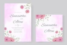Wedding Invitation Design With Pink Chrysanthemum Flower
