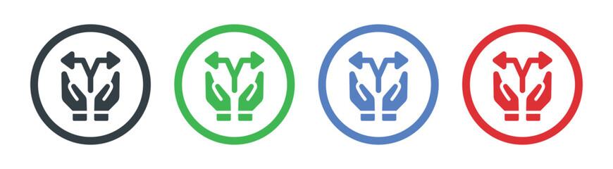Hand with arrow split icon. Sharing symbol vector illustration