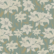 Abstract Amaryllis Flower Motif With Khaki Background Seamless Repeat Pattern Digital File Pattern Artwork Fashion Or Home Decor Print