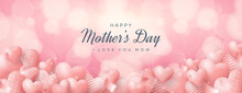 Happy Mothers Day Banner With Love Balloons Bokeh Background