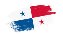 Flag Of Panama Country On Brush Paint Stroke Trail View. Elegant Texture Of National Country Flag