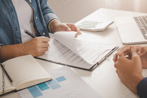 Fotografía Asian tenant, client woman sign signature contract rental purchase, buyer home or apartment with landlord, realtor after banker agreement mortgage, loan success or done