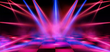 Dance Floor, Empty Night Club Stage Illuminated With Red And Blue Spotlights. Checkered Scene With Laser Beams, Lamps And Swirling Smoke, Disco Dancing Area Interior, Realistic 3d Vector Illustration