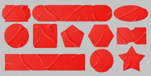 Red Glued Stickers Or Crumpled Paper Patches Mockup. Blank Shrunken Labels Of Different Shapes Round, Square, Star, Stripe And Rectangle Wrinkled Emblems With Curve Edges, Realistic 3d Vector Set
