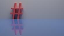 Pink  Hashtag 3d Render Design Element Email Sign, # Symbol