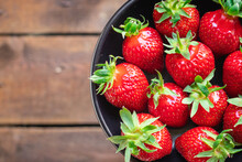 Strawberry Juicy Fruits Fresh Berries Ripe Harvest Sweet Dessert Summer Organic On The Table Copy Space Food Background Rustic Top View Vegan Or Vegetarian Food