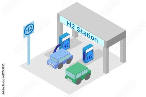 Obraz na plátně アイソメトリックな水素ステーションと水素自動車