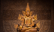 Wood Land Buddha Statue Carved In Real Wood.