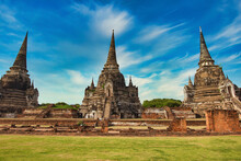 Historic Site Beautiful In Ayuthaya, Thailand.