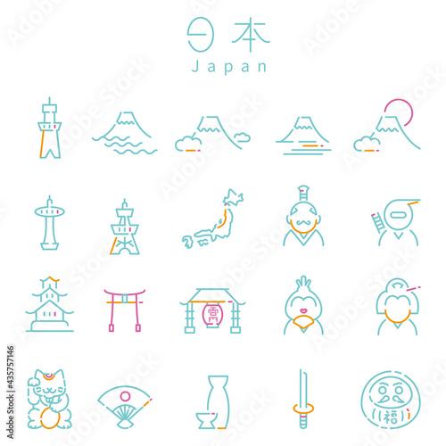線画 3色アイコン 日本 ミント Fototapet