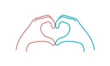 Human Hands Shows Heart Shape Gesture. Woman And Man. Love Concept.