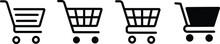 Shopping Cart Line And Flat Icon. Full And Empty Shopping Cart. Editable Stroke Isolated On The White Background.