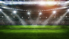 Sport Background - Big Green Field In Soccer Stadium. Ready For Game