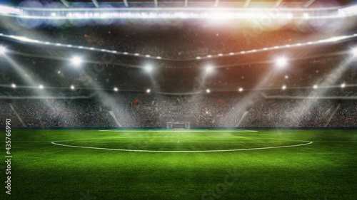 Foto sport background - big green field in soccer stadium