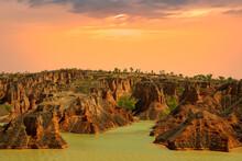 Splendid Sunset On Danxia Landform In Northwest China.