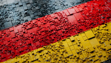 Flag Of Germany Rendered In A Futuristic 3D Style. German Innovation Concept. Tech Background.