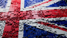 Flag Of United Kingdom Rendered In A Futuristic 3D Style. British Innovation Concept. Tech Background.
