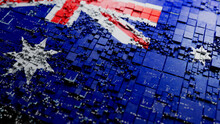 Flag Of Australia Rendered In A Futuristic 3D Style. Australian Technology Concept. Tech Wallpaper.
