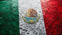 Flag Of Mexico Rendered In A Futuristic 3D Style. Mexican Technology Concept. Tech Wallpaper.